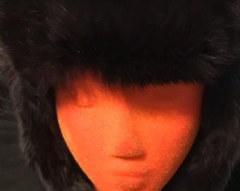 Vintage Ushanka Fur Hat Rabbit Fur Russian Hat Winter Hat