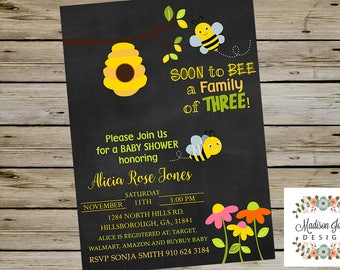 Soon To Bee a Family of THREE 3 BABY SHOWER Invitation, Customized Digital Printable Baby Shower Invitation, Baby Three 3 Baby Shower