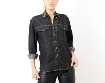 SALE Vintage Laurel / Laurel Shirt / Black Denim Shirt / Vintage Denim Shirt /  Small Shirt / Black Shirt / Vintage Shirt / Jean Shirt