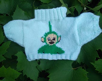 Hand knitted Sweater with Teletubby Dipsy to fit Build a Bear