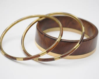 Lot of three Wood  Brass Bangles - chunky Boho Bangle - bracelet set