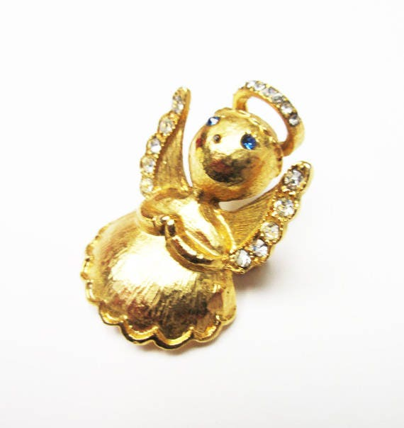 Angel Christmas Brooch - signed Luca Razza  - Gold - rhinestone  - Holiday Pin