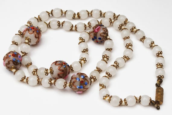 White Italian Bead necklace  - Wedding cake - floral white Glass beads - Brass - Venitian - Murano - vintage - gift for her