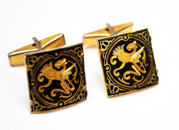 Damascene square  Cuff links - gold and Black  enameling - Spanish Dragon - Square vintage cufflinks