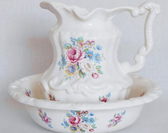 Vintage VB Athena California Pink Floral Bowl & Pitcher Set, Athena California Bowl and Pitcher Set, Bowl and Pitcher Set, Serveware,
