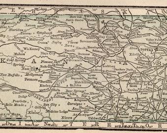 Kansas State Map Etsy - Map of kansas state