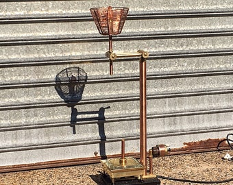 Industrial Desk Lamp, Executive Desk Accessories, Man Cave Decor, Bedside Lamp for Relaxation, Restaurant Decor, Steampunk, Sculpture Lobby