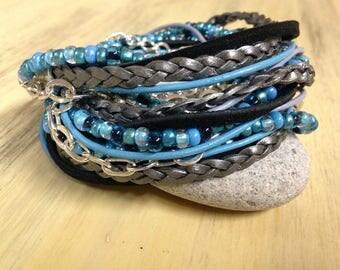 Boho beaded leather bracelet Turquoise Bracelet Beaded Wrap Bracelet Summer Beaded Bracelet Gypsy Leather Wrap Bead Wrap Bracelet for Women