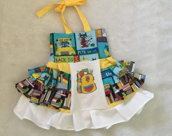 Back to School, School Bus, OTT, Pageant, OOC, Boutique Style size Ruffle dress NB 3  6 9 12 24 months, size 2 3 4 5T