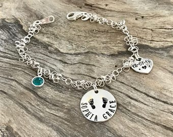 Mom Bracelet with kids names | Custom Hand Stamped Bracelet | Personalized Bracelet Sterling Silver | Mother Bracelet Personalized