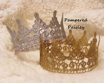 Lace Crowns, Crown Cake Topper, Birthday Crown, Custom size crown, Newborn Crown, boy crown, girl crown, Photo Prop Crown, Baby Lace Crown