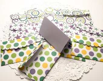 20 mini note cards with envelopes purple green gift enclosures - gift cards - purple stars - dots - stripes - handmade by Wcards