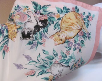 """Large White Pink Soft Poly Scarf 30"""" Square - Cats"""