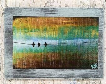Three Little Birds Wall Art by artist Rafi Perez Original Artist Enhanced Print On Wood