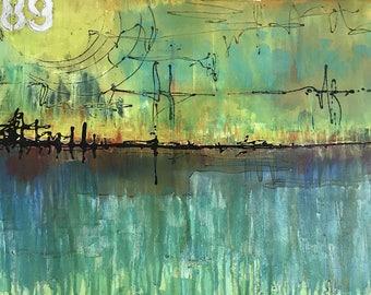 Harmony Of Reason And Imagination Original Painting By Artist Rafi Perez Mixed Medium on Canvas 41X37