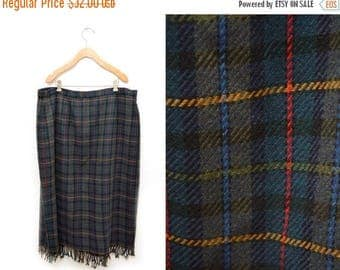 ON SALE 90s Navy Blue Green Plaid Wool Wrap Skirt Fringed Full Length Women's 22 Plus Size