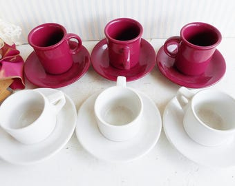 Mismatched Tea Cups and Saucers Set of 6/Tea Party Demitasse' Tea Cups And Saucers In Red, White/Girls Tea/High Tea/Rustic Wedding