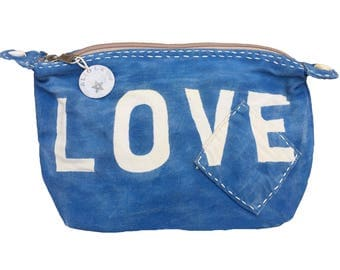 Ali Lamu Large Clutch Bag Blue Love Natural