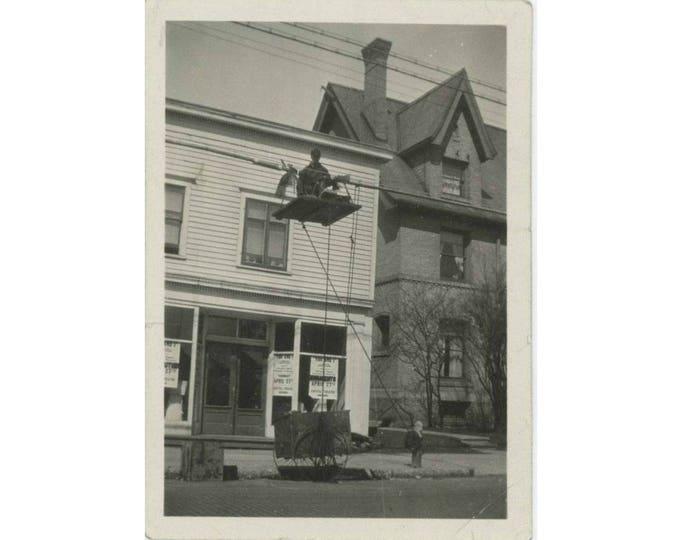"Lineman ""Doc Tingerstrom, Cable Splicer"" Manitowoc, Wisconsin c1910s  Vintage Snapshot Photo (61450)"