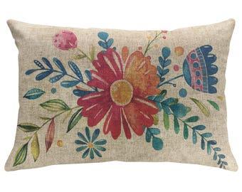 Watercolor Flowers Throw Pillow, Linen Lumbar Pillow, Cottage