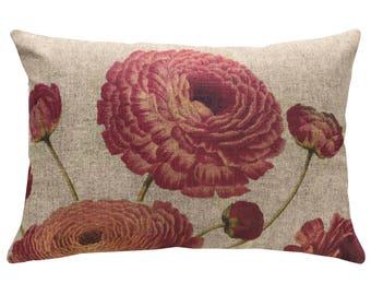 Flowers Throw Pillow, Linen Lumbar Pillow, French
