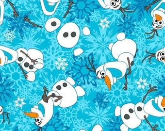 Olaf Snowflakes Fabric by the Yard