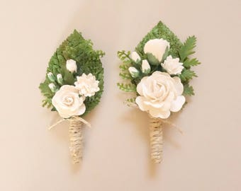 White Boutonniere, Woodland Boutonniere, Rose Boutonniere, Rustic Boutonniere, Forest Wedding, Mens Lapel Pin, Natural Boutonniere, SERENITY