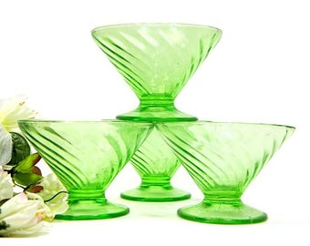Four Green Depression Glass Swirl Pattern Footed Sherbet Dishes