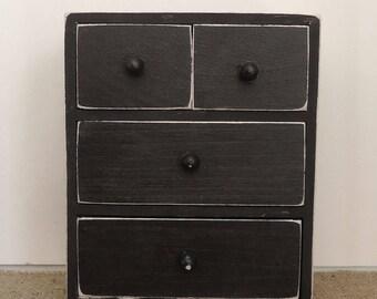 small wood chest with drawers, organizer, desk dresser jewlery, ring box, parts storage, bathroom organization, make up organizer
