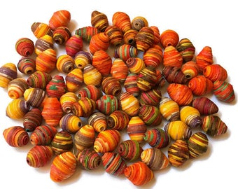 Mixed Lot of Beads, Textile Beads, Fabric Beads, Fiber Beads, Multicolored Beads, Handcrafted Diamond Bicone Shaped Unique Fiber Beads