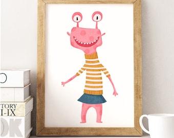 Monster print, Monster Illustration, Kids room decor, Monster kids Print, Nursery print, Monster Wall art, Funny monster, Pink monster