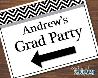 Graduation Party Direction Signs, Editable Black and White Graduation Signs with Arrows, INSTANT DOWNLOAD, digital printable file