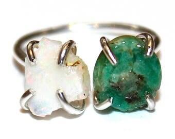 Double Stone Ring Raw Opal Ring Raw Stone Ring Raw Emerald Ring Jewelry Raw Welo Opal Jewelry Geometric Ring Raw Stone Jewelry Valentines