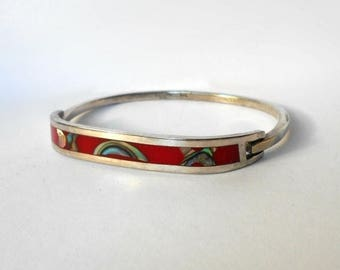 CIJ SALE Vintage Clamper Bangle Bracelet 925 Sterling Silver MOP Red Enamel