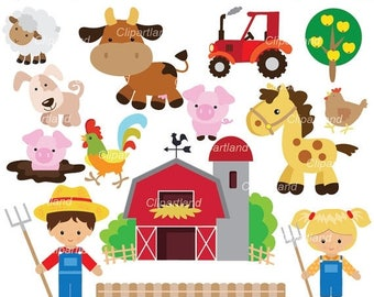 ON SALE INSTANT Download. Cf_64_farm. Farm clipart. Personal and commercial use.