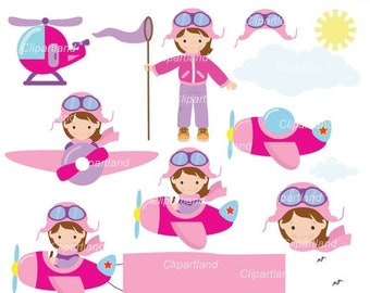 ON SALE INSTANT Download. Aviator girl clip art. Ca_4. Personal and commercial use.