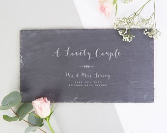 Wedding Gift Personalised Calligraphy Slate Board