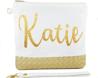 Ivory Bag ( Gold Glitter Name ) - Personalised Bride Gift - Maid of Honour Gift - Bridesmaid Gift - Unique Gift for Bridal Party Wedding Bag