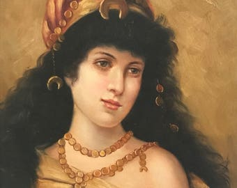 Vtg Arabic Lady Oil Painting Orientalist not framed  PERSONAL