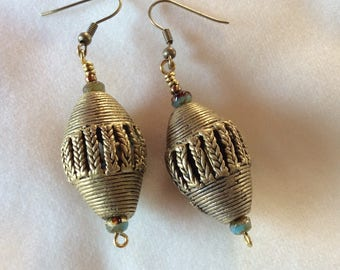 Earrings with Antique African Brass Beads and Czech Picasso Glass Rondelles