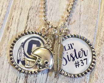 School team logo high school sports charm necklace football mom football aunt