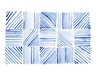Blue Pattern Study A Watercolor Print