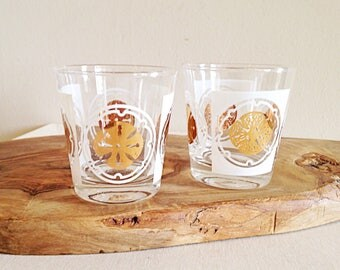 Set of 2 White and Gold Emblem Mid Century Glasses Vintage Barware