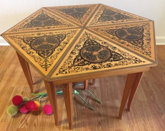 HEXAGON MARQUETRY WOOD Coffee Table, Italian Inlaid Wood Tables, Six Inlaid Wood Tables, Moroccan, Stacking Tables, at Ageless Alchemy