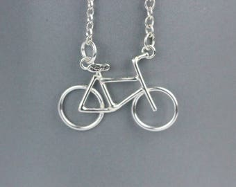 Sterling silver dainty bike necklace