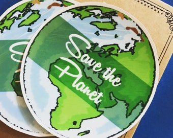 Save the Planet Vinyl Sticker, Peace Hand Sticker, Scrapbooking Hippie Decal, Earth Bumper Sticker, Laptop, Environmental Global Warming