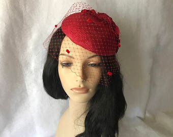 Red Wedding Fascinator hat with red chenille dotted birdcage veil, vintage style fascinator hat, Mother of the Bride hat, tea party hat