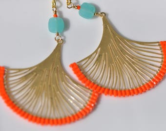 Turquoise Delica miyukis, Orange  Faceted crystals,Ginkgo leaves Lasercut gold center, very light, beautiful beaded dangle earrings