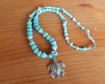 Sea Turtle Pendant on Handmade Beaded Necklace - Stones, Shells, Metal - Beach, Sea Turtle, Nature, Earthy, Hippie, Boho, Natural, Summer