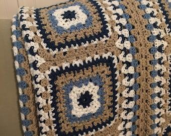 "Crocheted Afghan / Blue Tan Pattern Afghan Throw Handmade  62"" x 60"""